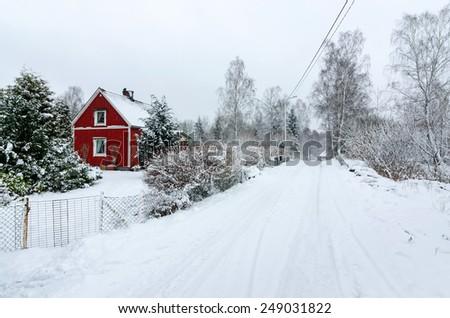 Swedish village in winter - stock photo