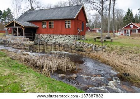 Swedish watermill - stock photo