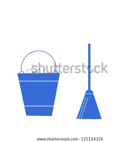 Sweeping Broom and bucket, cleaning icons - stock photo
