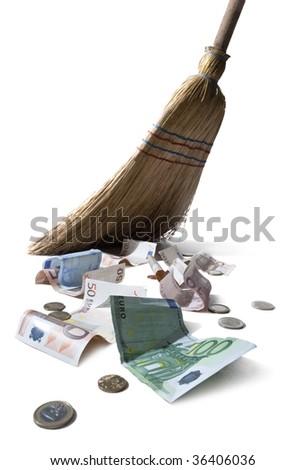 sweeping euros - stock photo