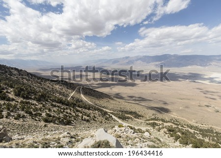 Sweeping vista towards Lone Pine and the Alabama Hills in California's Owens Valley. - stock photo
