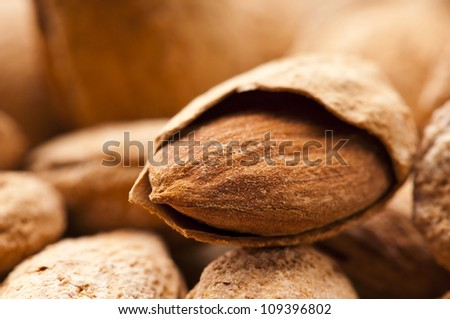 Sweet almonds with kernel - stock photo