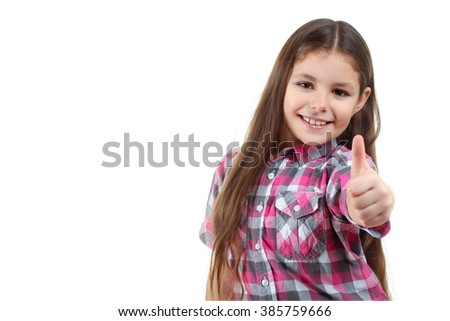 sweet and beautiful little girl showing thumb up isolated on white background - stock photo