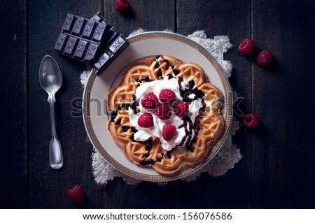 Sweet and delicious waffles with fruits - stock photo