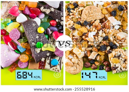 Sweet and junk food contra healthy snacks concept - stock photo
