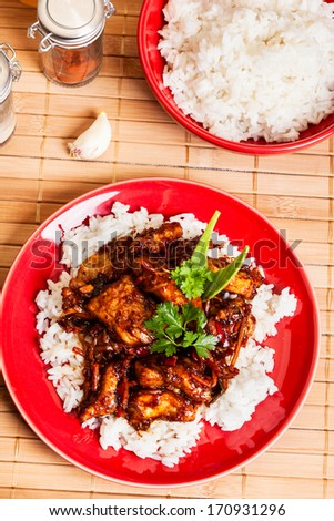 Sweet and sour pork and rice on a plate - stock photo