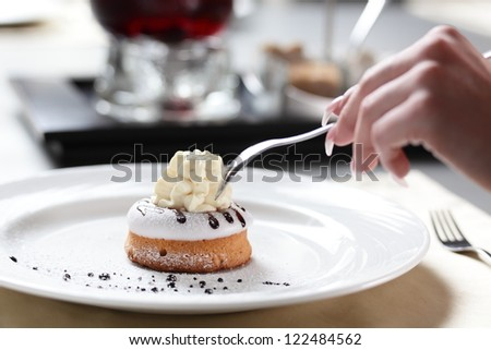 sweet and tasty cake on table in restaurant
