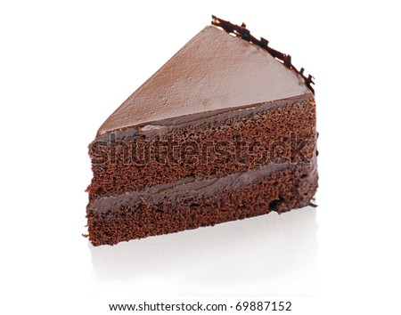 Sweet and tasty chocolate cake great for during coffee break isolated on white - stock photo