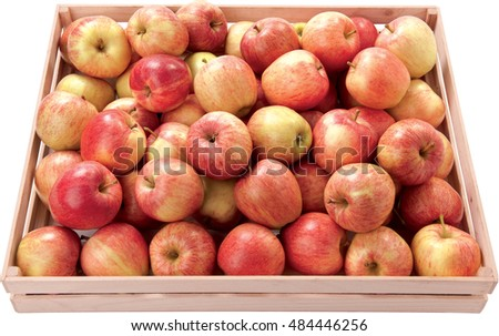 Sweet apples in a box autumn fruit food