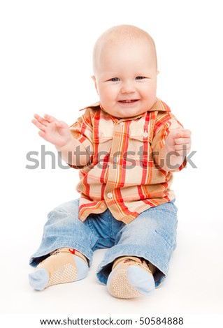 Sweet baby boy giggling, isolated, over white - stock photo