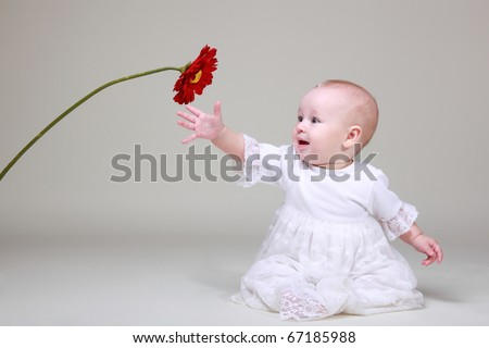 sweet baby girl  holding gerber flower - stock photo