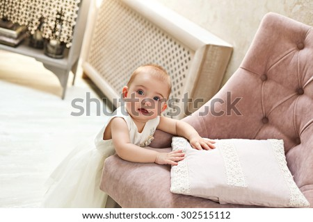 Sweet baby girl portrait - stock photo