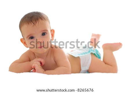 Sweet Baby on the bed using diaper .