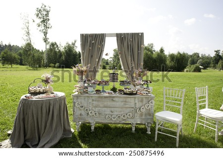 Sweet bar on summer wedding. Layer cake with protein cream and blackberries and other sweets outdoors - stock photo