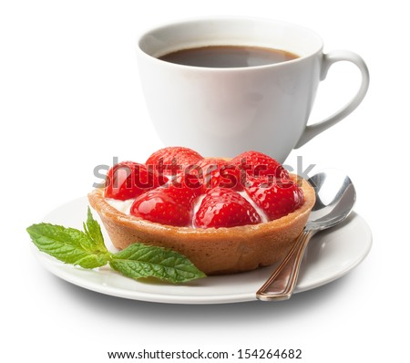 sweet basket with cream and strawberries, over white - stock photo