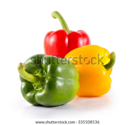 Sweet bell pepper (capsicum) isolated on white - stock photo