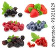 Sweet berries: strawberry, blackberry,blueberry,red currant,raspberry,black currant - stock photo