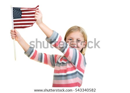 Sweet blonde Girl holding an american flag