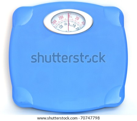 Sweet blue bathroom weight scale on white background