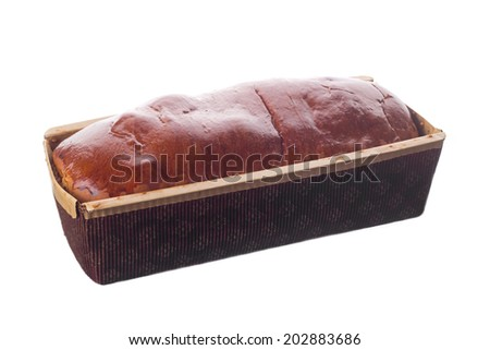 Sweet bread in disposable package, isolated on white - stock photo