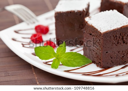 sweet brownies or chocolate cakes - stock photo