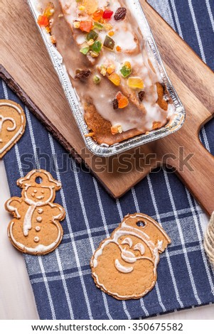 Sweet cake with candied fruit. Shallow depth of field. - stock photo