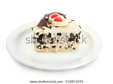 sweet cake with chocolate on plate isolated on white - stock photo