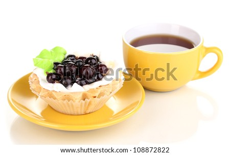 sweet cake with cup of tea isolated on white - stock photo