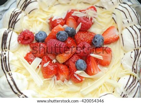 Sweet Cake with fresh berries - stock photo
