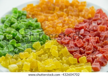 Sweet candied dried fruits, - stock photo