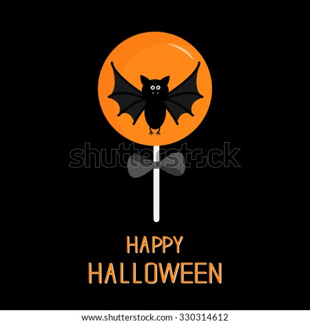 Sweet candy lollipop with bat. Black bow. Happy Halloween card. Flat design. - stock photo