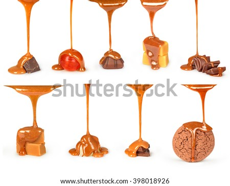 sweet caramel sauce is poured on a chocolate bar, cookies and candies collection - stock photo