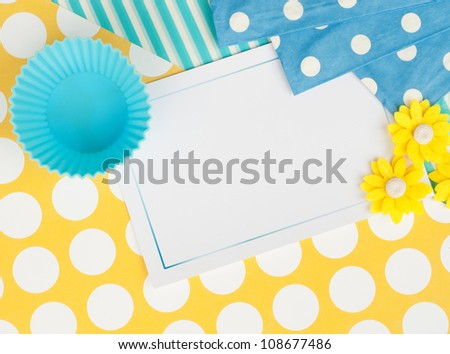 sweet card design background wallpaper with cupcake cups and flowers and dots - stock photo