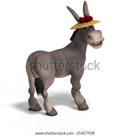 sweet cartoon donkey with pretty face over white and clipping Path