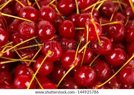 Sweet cherry close-up - stock photo