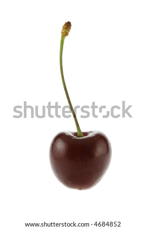 Sweet cherry close-up isolated over a white background