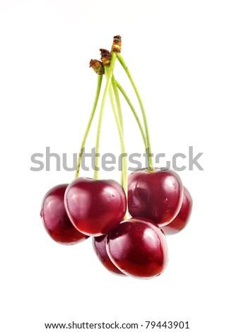 Sweet cherry isolated on white - stock photo