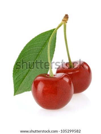sweet cherry isolated on white background - stock photo