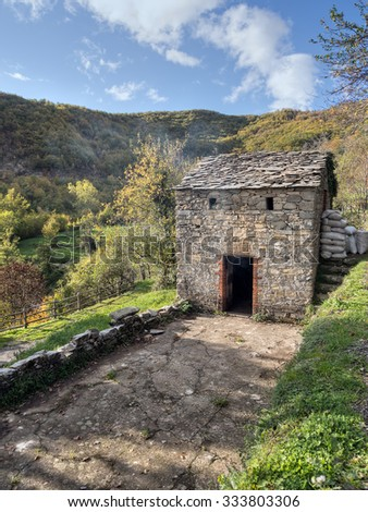 Sweet chestnut drying house. Known locally as Gradili. The ground floor is where the chestnut tree wood burns, drying the chestnuts on the floor above. Lunigiana, Italy.