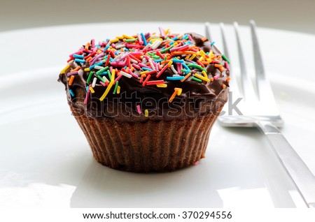 Sweet chocolate cupcake. Close up of chocolate muffins.  Chocolate cupcakes with chocolate frosting on top with sugar sprinkles. Shallow depth of field.