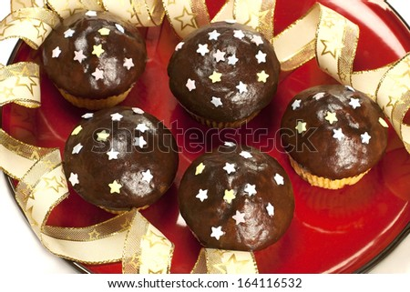 sweet chocolate muffins with decorations