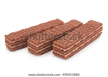 Sweet chocolate wafers closeup isolated on white background