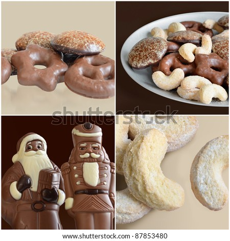 sweet Christmas composition showing Nüremberger lebkuchen, a plate of traditional German cookies, chocolate figurines and traditional Vanillekipferl - stock photo