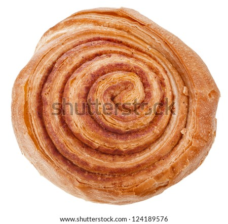 Sweet Cinnamon Bun Isolated on White Background - stock photo