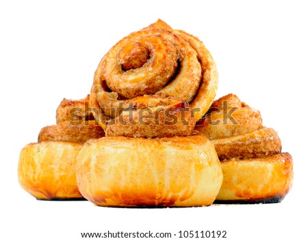 Sweet Cinnamon Buns Isolated on White Background - stock photo