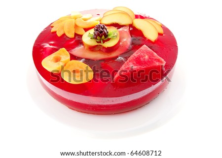 sweet cold red jelly cake with peach and nectarine