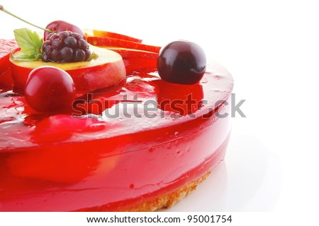 sweet cold red jelly pie with apricot and watermelon - stock photo