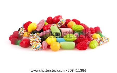 Sweet colorful candy, isolated on white background. Close-up - stock photo