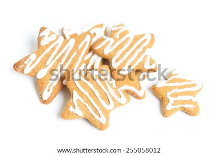 Sweet cookies decorated on white - stock photo