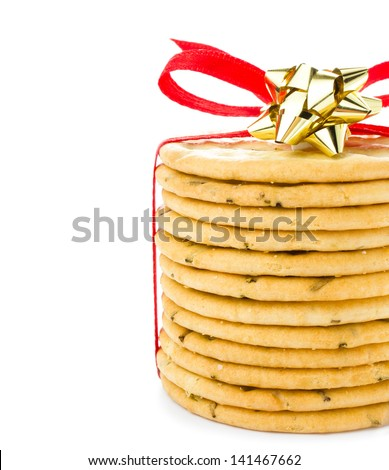 Sweet cookies tied with red ribbon isolated on white background isolated on white,